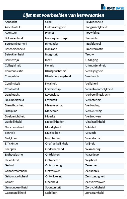 Kernwaarden lijst voorbeeld