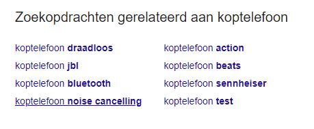 gerelateerde zoekwoorden Google