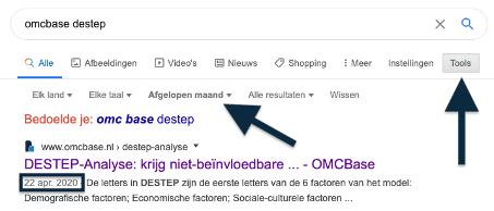 Google zoekopdracht datum destep